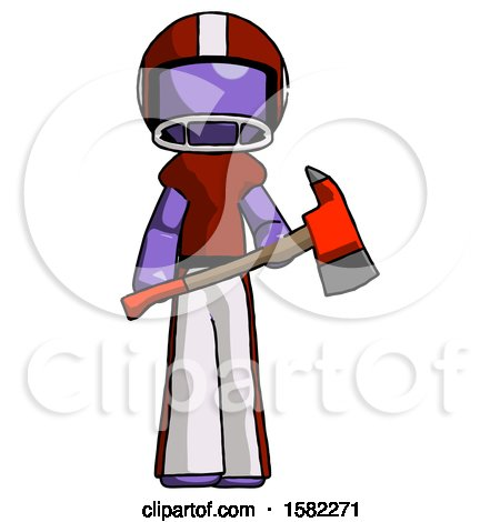 Purple Football Player Man Holding Red Fire Fighter's Ax by Leo Blanchette