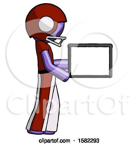 Purple Football Player Man Show Tablet Device Computer to Viewer, Blank Area by Leo Blanchette