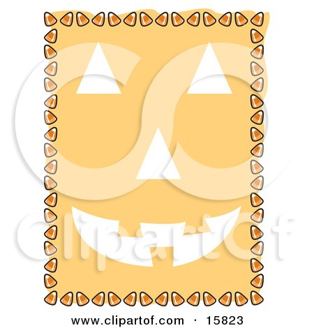 Border Of Candy Corn Framing A Pumpkin Face Clipart Illustration by Andy Nortnik