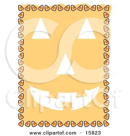 Border Of Candy Corn Framing A Pumpkin Face Clipart Illustration
