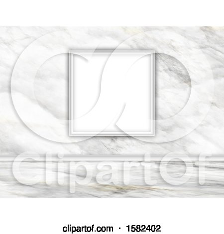 Clipart of a 3d Blank Frame on a Marble Wall - Royalty Free Illustration by KJ Pargeter