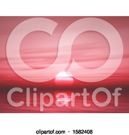 Clipart of a 3d Red Ocean Sunset - Royalty Free Illustration by KJ Pargeter