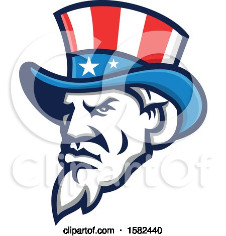 Clipart of a Retro Tough Angry Uncle Sam Face with a Patriotic Top Hat - Royalty Free Vector Illustration by patrimonio