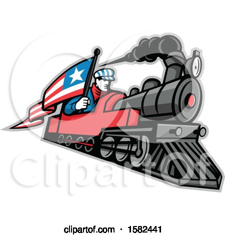 Clipart of a Retro Train Driver Holding a Flag on a Steam Locomotive - Royalty Free Vector Illustration by patrimonio