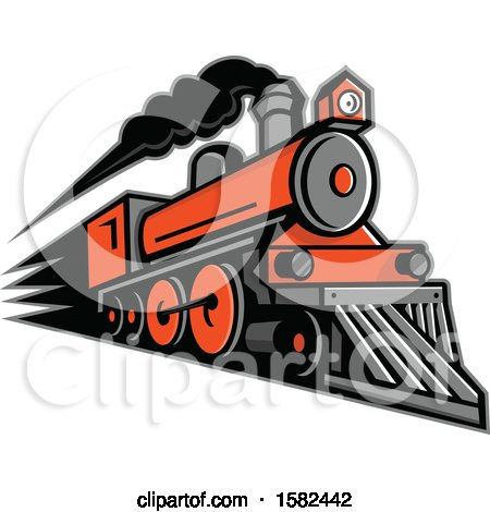 Clipart of a Retro Steam Locomotive Train - Royalty Free Vector Illustration by patrimonio