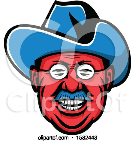 Clipart of a Mascot of Theodore Roosevelt - Royalty Free Vector Illustration by patrimonio