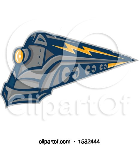 Clipart of a Retro Steam Locomotive Train with Lightning Markings - Royalty Free Vector Illustration by patrimonio