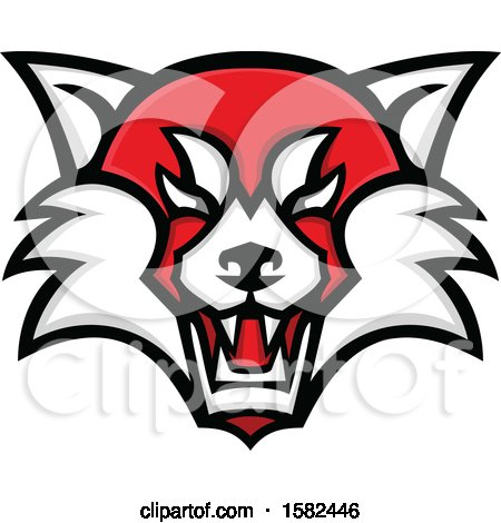 Clipart of a Tough Red Panda Mascot Face - Royalty Free Vector Illustration by patrimonio