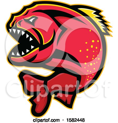 Clipart of a Tough Red Piranha Fish Mascot - Royalty Free Vector Illustration by patrimonio