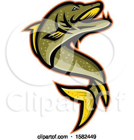 Clipart of a Tough Pike Fish Mascot Jumping - Royalty Free Vector Illustration by patrimonio