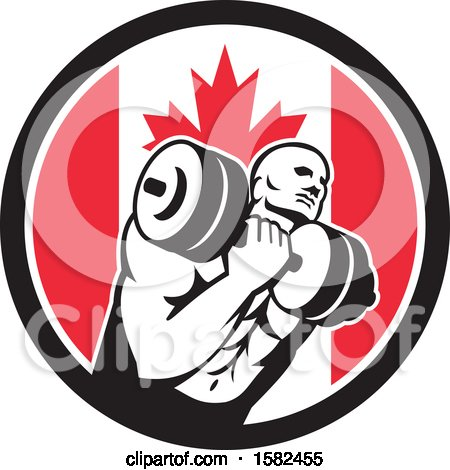Clipart of a Retro Muscular Male Crossfit Bodybuilder Athlete Holding a Barbell or Dumbbell in a Canadian Flag Circle - Royalty Free Vector Illustration by patrimonio