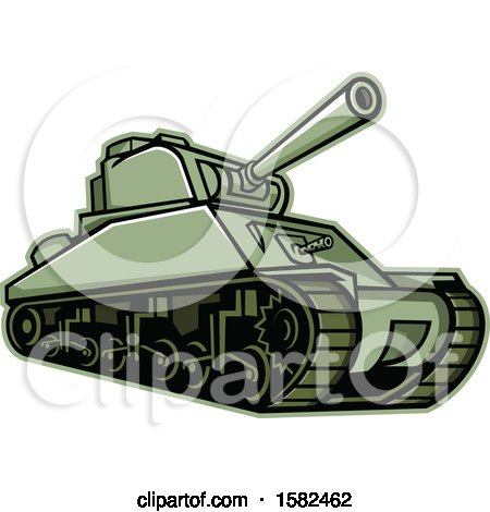 Clipart of a Military M4 Sherman Tank - Royalty Free Vector Illustration by patrimonio