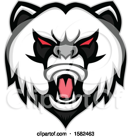 Clipart of a Tough Panda Mascot Face - Royalty Free Vector Illustration by patrimonio