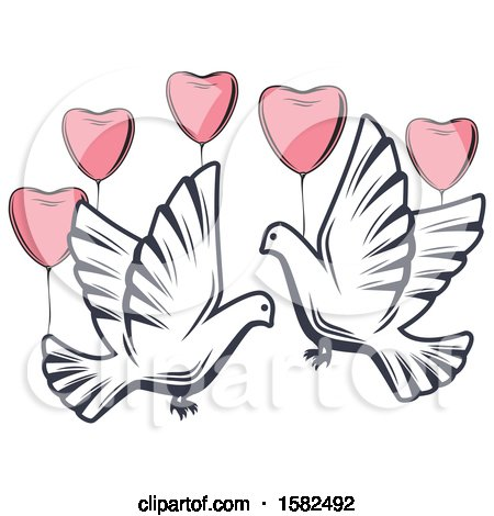 Clipart of Retro Wedding Doves and Heart Balloons - Royalty Free Vector Illustration by Vector Tradition SM