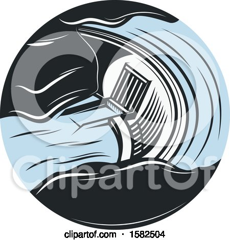 Clipart of a Retro Hydroelectric Dam - Royalty Free Vector Illustration by Vector Tradition SM