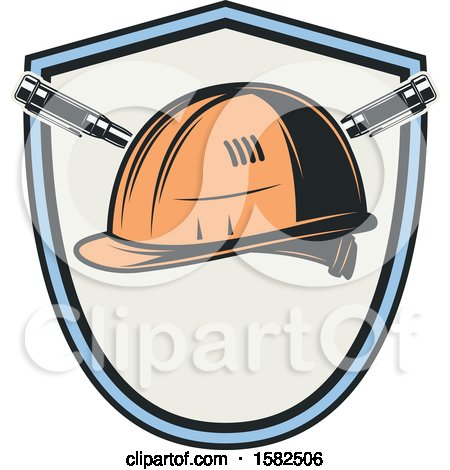 Clipart of a Shield with a Hard Hat - Royalty Free Vector Illustration by Vector Tradition SM