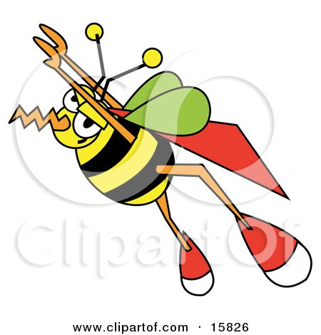 Super Honeybee With A Cape, Flying Upwards Posters, Art Prints