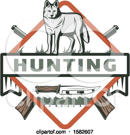 Clipart of a Wolf in a Shield with Crossed Hunting Rifles and a Knife - Royalty Free Vector Illustration by Vector Tradition SM