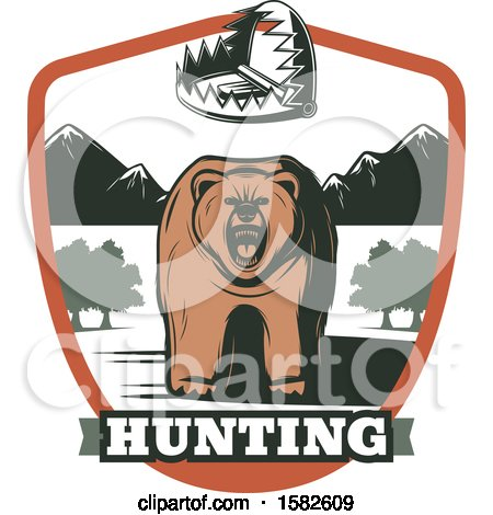 Clipart of a Roaring Bear in a Shield with a Trap - Royalty Free Vector Illustration by Vector Tradition SM