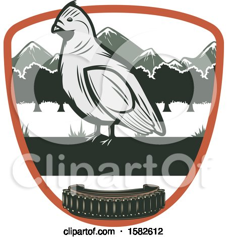 Clipart of a Bird in a Shield with Ammo - Royalty Free Vector Illustration by Vector Tradition SM