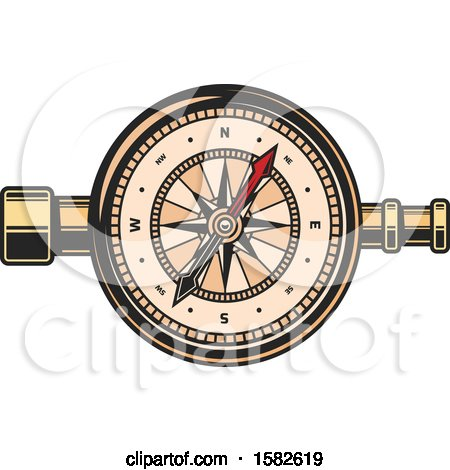 Clipart of a Telescope and Compass - Royalty Free Vector Illustration by Vector Tradition SM