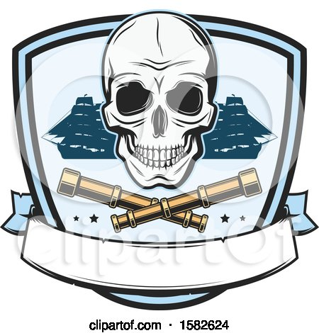 Clipart of a Skull, Pirate Ships and Crossed Telescopes - Royalty Free Vector Illustration by Vector Tradition SM