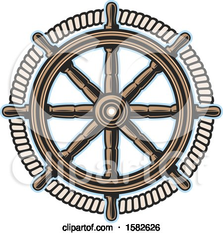 Clipart of a Ship Steering Helm - Royalty Free Vector Illustration by Vector Tradition SM