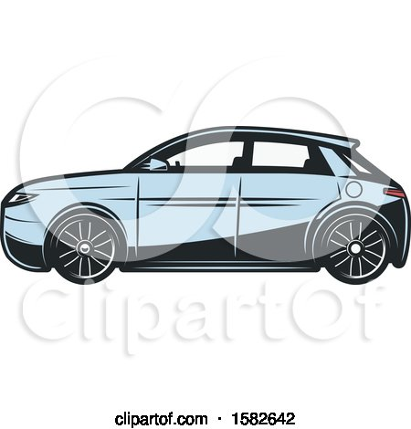 Clipart of a Blue Hybrid Car - Royalty Free Vector Illustration by Vector Tradition SM