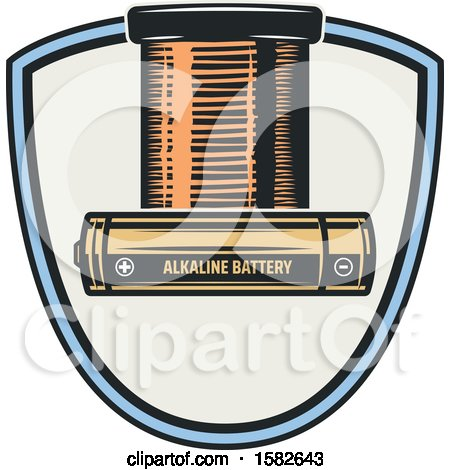 Clipart of a Shield with Batteries - Royalty Free Vector Illustration by Vector Tradition SM