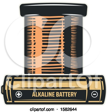 Clipart of Batteries - Royalty Free Vector Illustration by Vector Tradition SM