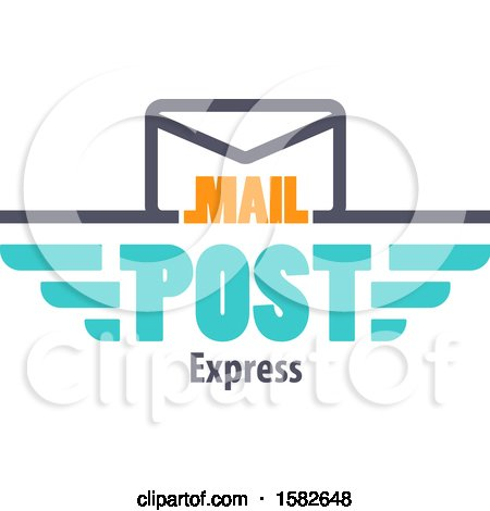 Clipart of a Mail Post Express Design with an Envelope - Royalty Free Vector Illustration by Vector Tradition SM