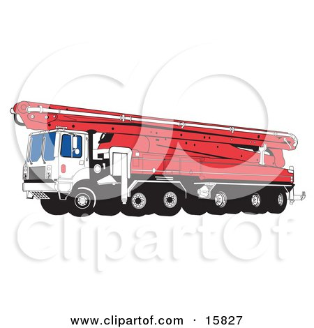 Big Hydraulic Concrete Pumping Truck with Mounted Boom Pump Clipart Illustration by Andy Nortnik