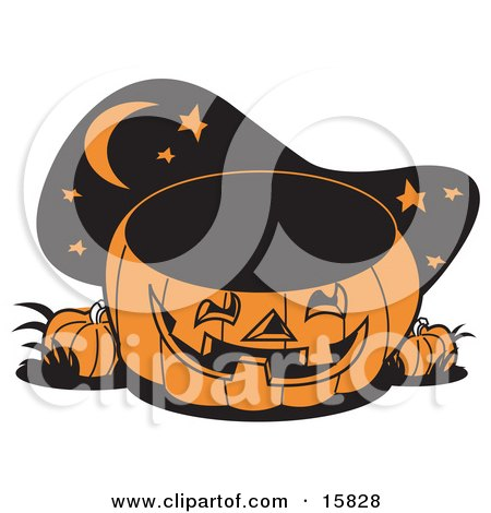 Carved Jack O Lantern Halloween Pumpkin Outside Under The Moon And Stars Clipart Illustration by Andy Nortnik