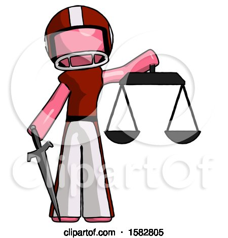Pink Football Player Man Justice Concept with Scales and Sword, Justicia Derived by Leo Blanchette