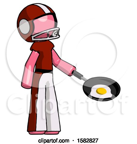 Pink Football Player Man Frying Egg in Pan or Wok Facing Right by Leo Blanchette