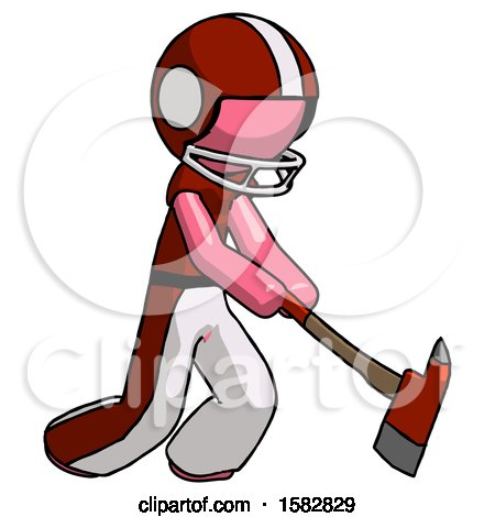 Pink Football Player Man Striking with a Red Firefighter's Ax by Leo Blanchette