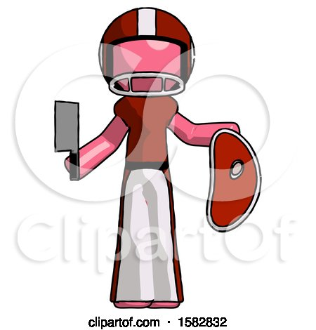 Pink Football Player Man Holding Large Steak with Butcher Knife by Leo Blanchette