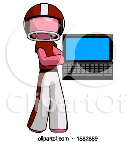 Pink Football Player Man Holding Laptop Computer Presenting Something on Screen by Leo Blanchette