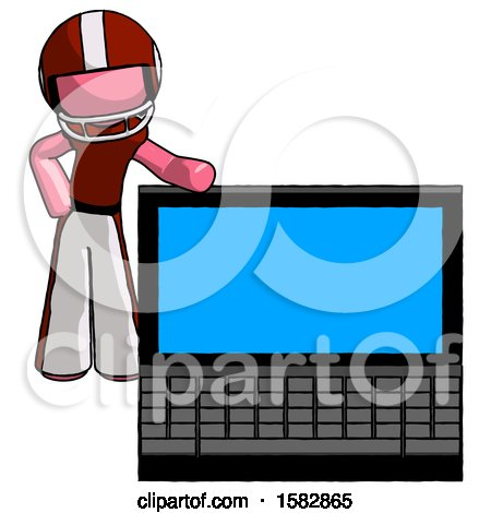 Pink Football Player Man Beside Large Laptop Computer, Leaning Against It by Leo Blanchette