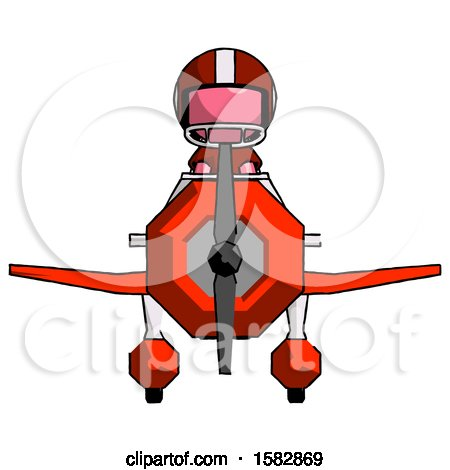 Pink Football Player Man in Geebee Stunt Plane Front View by Leo Blanchette