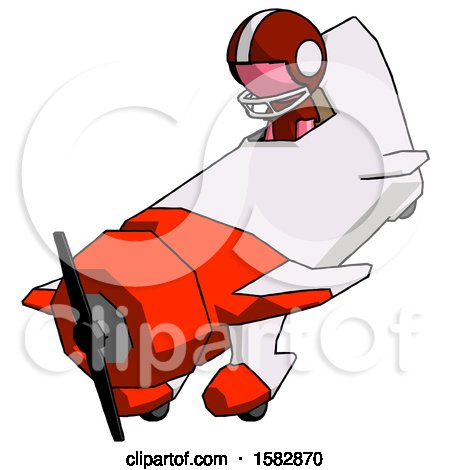 Pink Football Player Man in Geebee Stunt Plane Descending View by Leo Blanchette