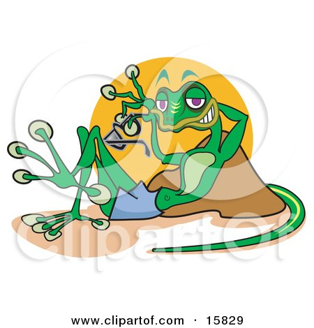 Relaxed Gecko Lizard Reclining Against A Rock And Holding A Pair Of Sunglasses Clipart Illustration by Andy Nortnik