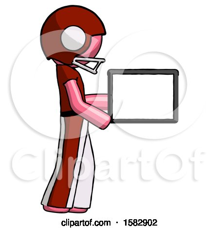 Pink Football Player Man Show Tablet Device Computer to Viewer, Blank Area by Leo Blanchette