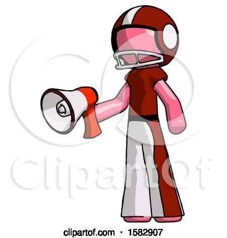 Pink Football Player Man Holding Megaphone Bullhorn Facing Right by Leo Blanchette