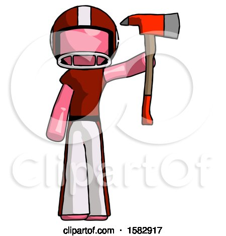 Pink Football Player Man Holding up Red Firefighter's Ax by Leo Blanchette