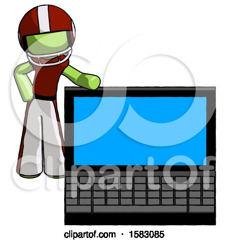 Green Football Player Man Beside Large Laptop Computer, Leaning Against It by Leo Blanchette