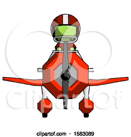 Green Football Player Man in Geebee Stunt Plane Front View by Leo Blanchette