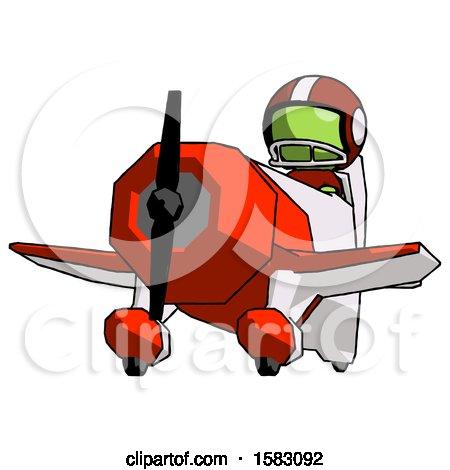 Green Football Player Man Flying in Geebee Stunt Plane Viewed from Below by Leo Blanchette