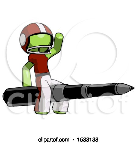 Green Football Player Man Riding a Pen like a Giant Rocket by Leo Blanchette