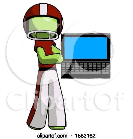 Green Football Player Man Holding Laptop Computer Presenting Something on Screen by Leo Blanchette